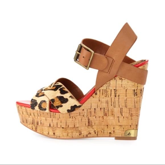 4bb51180ad1119 Sam Edelman Sasha leopard calf hair cork wedges 7.  M 5c3ffc4d0cb5aa13b372dc46